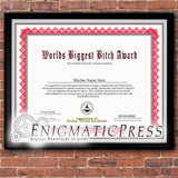 Worlds Biggest Bitch Award, certificate with editable text, Home printable, digital download pdf,