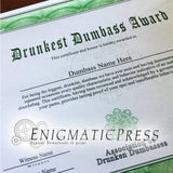 Drunkest Dumbass Award, certificate with editable text, Home printable, digital download pdf,