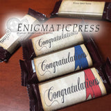 3 Congratulations style mini chocolate bar labels,  blue red plain ribbon, fit .45oz size Hershey's, editable PDF files digital download
