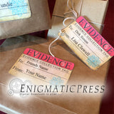 7 Crime scene Evidence style gift labels, digital download print at home