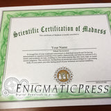 Mad Scientist Certificate type 2, PDF with editable text, Home printable, digital download fun gag gift