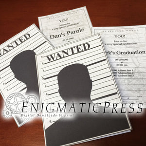 "Wanted ""mugshot"" style greeting cards, with stationary editable PDF, home printable, digital download"