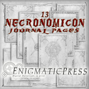 13 lined Necronomicon, spell book, 8.5x11 journal pages, for grand grimoire, home printable, digital download PDFs