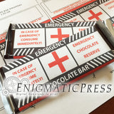 Emergency chocolate! labels, fit 1.45 and 1.55oz size Hershey's  and Nestle bars, editable PDF digital download