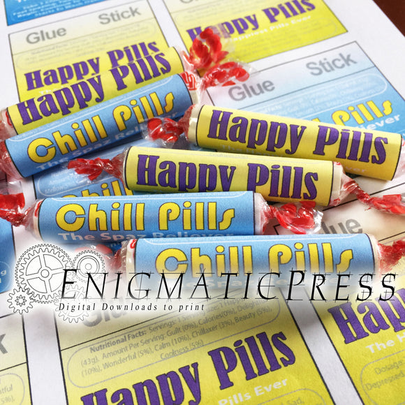 Chill Pills and Happy Pills Smarties candy wrapper Fun labels, home printable PDF, digital download