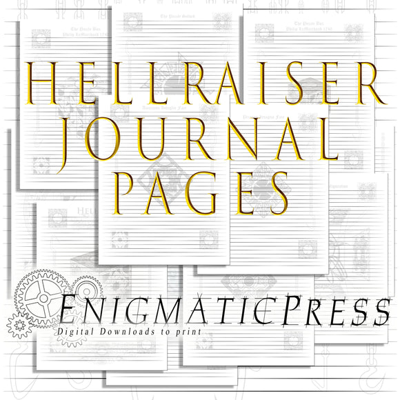 12 lined Hellraiser, journal pages, 8.5x11, home printable, digital download PDFs