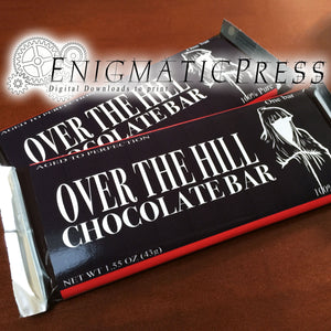 Over The Hill style chocolate bar wrappers, fits 1.45oz and 1.55 size Hershey's and Nestle bars PDF digital download