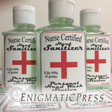 Nurse Certified Hand sanitizer Labels, fits 2fl oz, 59.2 ml size bottle, digital download, PDF file