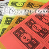 Editable Monopoly Money, PDF Sheet of  8 b/w bills, digital download home printable PDF