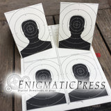 Paper Targets, bulls eye and silhouettes, tent fold decor, Home printable pdf digital download,
