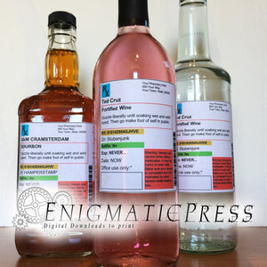 Large Prescription style wine or liquor bottle labels, PDF home printable digital download