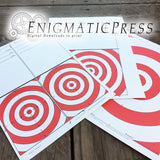 Paper Bulls eye Targets, Tent Fold, set of 3, Home printable PDF digital download, Nerf gun targets