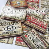 12 Assorted Mini Match Box labels, Vintage styles stickers, PDF, instant digital download DIY  home printable