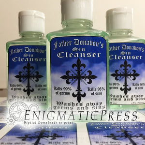Father Donavon's Sin-cleanser, Hand sanitizer color Labels, fits 2fl oz, 59.2 ml size bottle, fun digital download, home printable labels