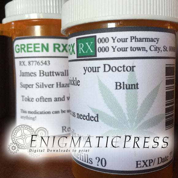Weed Prescription bottle labels, fit 16 to 40 dram, DIY editable PDF, instant digital download home printable