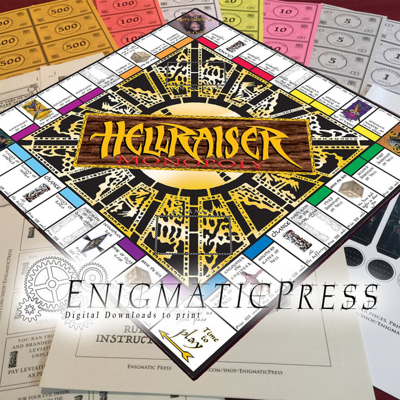 Hellraiser Monopoly #1 Buy and sell Dominions in Hell with Souls! Printable DIY digital downloadable, board game, game pieces and paperwork!