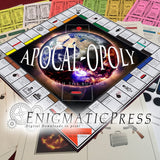 Apocal-opoly! Buy/sell Weapons of Mass Destruction to destroy the world! Printable DIY digital downloadable, board game and all game pieces!