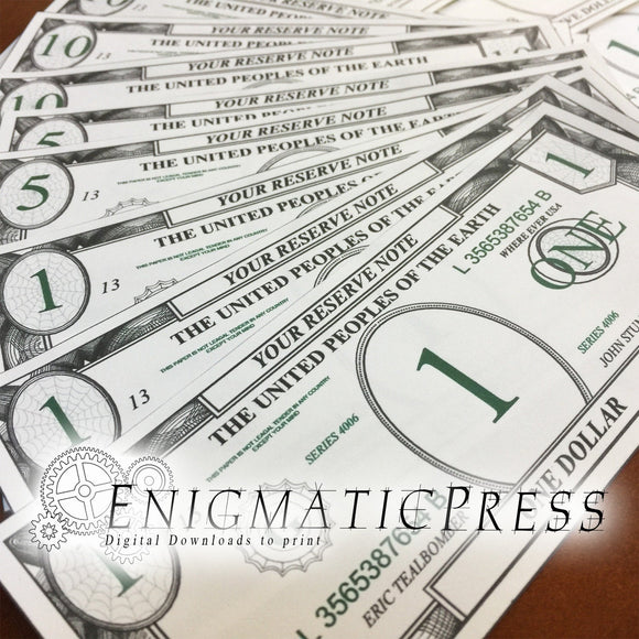 Play Money, 2 color bills, front and backs included, Editable PDF digital download home printable