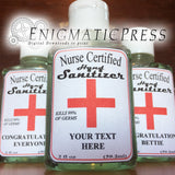 "Personalized ""Nurse Certified"" Hand sanitizer Labels, fits 2fl oz, 59.2 ml size bottle, digital download"