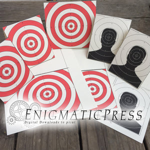 Paper Targets 8 piece set, bulls eye and silhouettes, tent fold decor and posters, Home printable pdf digital download,