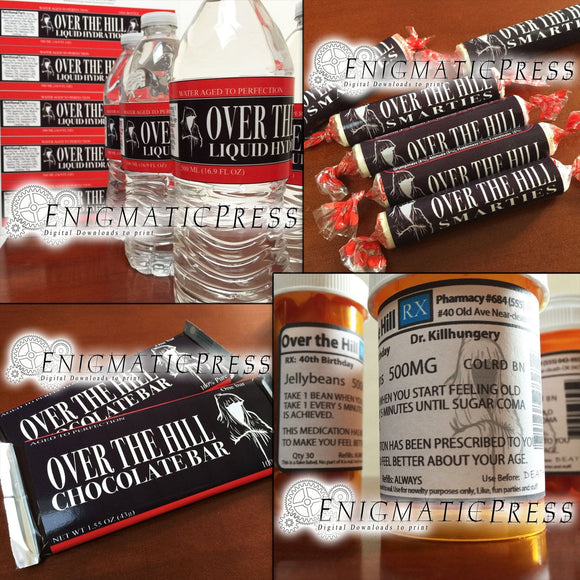 4 Over The Hill style labels value pack, water/prescription bottle, smarties and chocolate bar labels, DIY Home printable, digital download