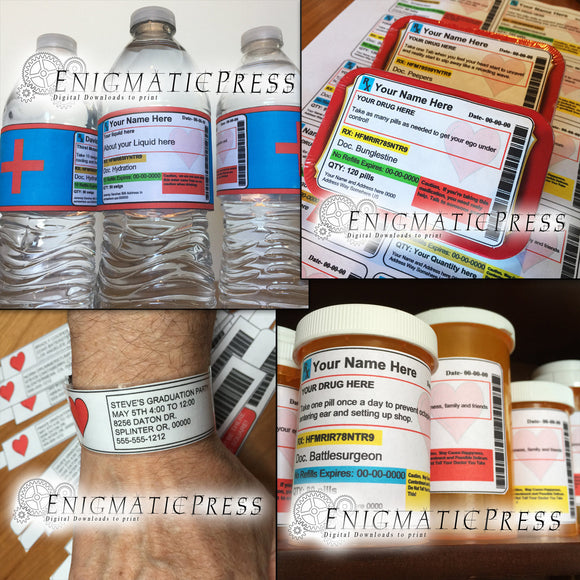 Editable Prescription heart labels 5 item value pack, water, Altoids, wrist bands and more! DIY PDF, instant digital download home printable