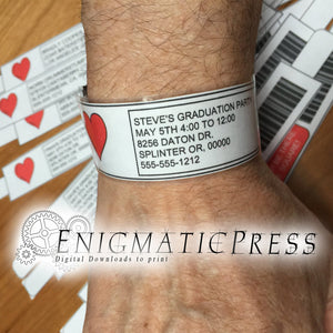 Med patient style wrist bands, with easy editable text, DIY PDF, instant digital download home printable party favor