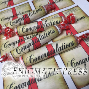 3 Diploma Style Smarties label sheets, with Blue, Red and no Ribbons candy wrappers, DIY, home printable PDF, digital download party favor