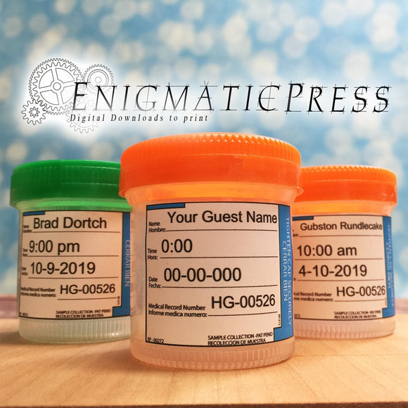 Editable Urine Collection jar labels, Blue fits standard Urine Specimen bottles, DIY  PDF, instant digital download home printable