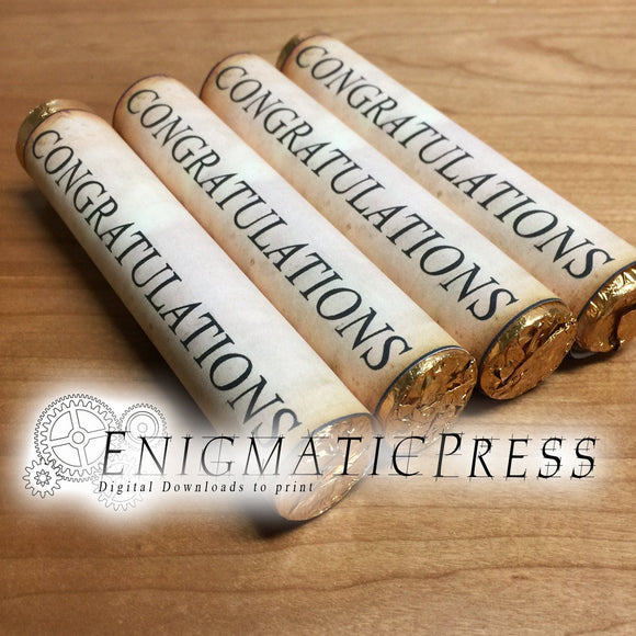Editable Diploma styles Rolo wrapper labels, easy DIY PDF, instant digital download home printable