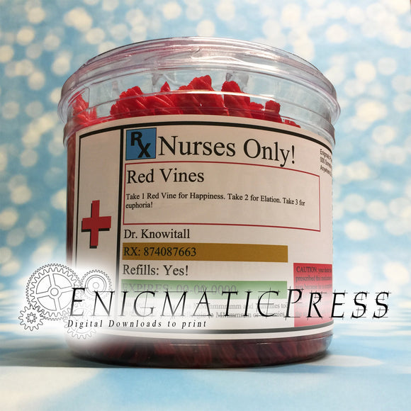 Editable Prescription Red Vines Labels, fit Red Vine Tub, Large medication sticker, DIY PDF, instant digital download, home printable