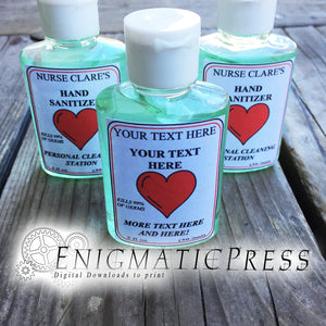 Editable Hand Sanitizer Labels with hearts, fits 2fl oz, 59.2 ml size bottle, fun PDF digital download, DIY home printable