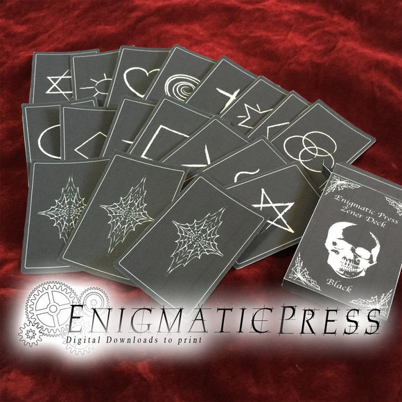 32 Black Zener Card Set With Box, poker size memory / ESP  game, full deck, home printable, diy digital download
