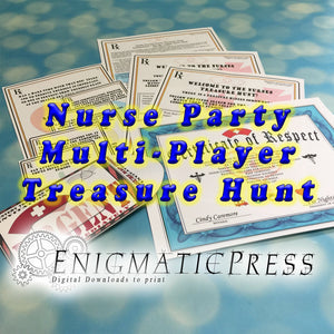 Nurse Party Multi Player Treasure Hunt, clue cards, envelopes and setup guide, All in one DIY home printable, instant pdf digital download