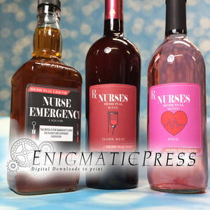 6 Nurse Wine and liquor labels, PDF, instant digital download, home printable.