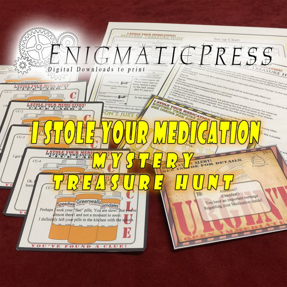 I Stole Your Meds! Treasure Hunt, clue cards, envelopes, setup guide, All in one editable PDF home printable set, instant digital download
