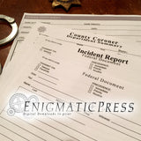 5 pages Authentic looking Police documents, Incident FBI Coroner report, fingerprint pg, home printable, digital download