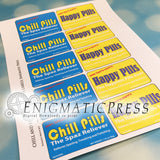 Happy and Chill Pills Altoids labels, PDF, instant digital download home printable