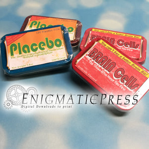 Placebo and Brain Cells Altoids labels stickers, PDF, instant digital download home printable