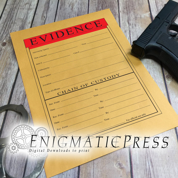 3 Chain of evidence Graphics For 9x12 envelope, diy, home printable, digital download, PDF, JPG, PNG, files!