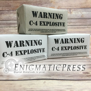 C-4 Prop Demolition Explosive labels, DIY, PDF, files, instant digital download home printable