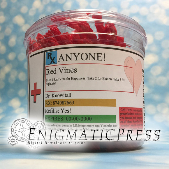 Editable Prescription Red Vines Labels with hearts fit Red Vine Tub, DIY PDF, instant digital download, home printable