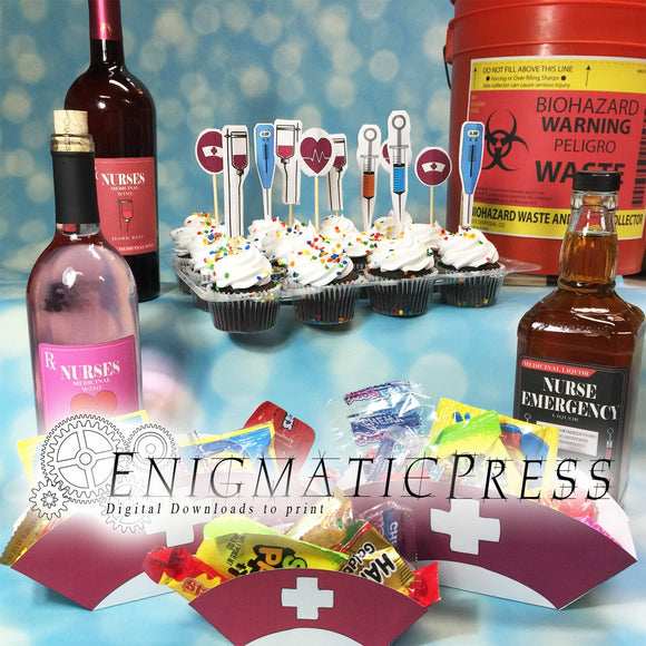 Nurse Party Decor Set, DIY Cup cake Toppers, Hat boxes, Wine labels, Flags, and Trash label, PDF, instant digital download, home printable.