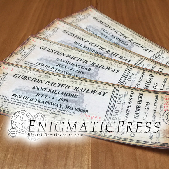 5 Old Time Railroad Tickets, Editable Party Invitations, DIY, PDF Home Printable, Digital Download