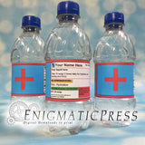 5 Editable Prescription style water bottle labels, water wraps, PDF, Home printable, digital download