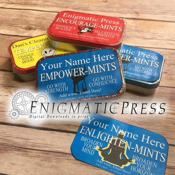 Assorted Personalized Altoids tin labels, Empower, Enlighten, Encourage, and Tempera-mints, editable instant digital download