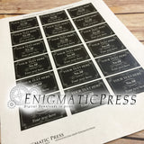 18 editable Mini Match Box labels, Black Classic style, PDF, instant digital download DIY  home printable