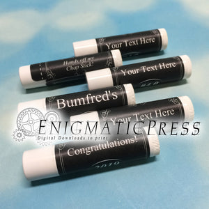 12 Editable Chapstick Labels, elegant black style, fit 0.15 oz. (4 grams) product, DIY PDF, Home printable, digital download