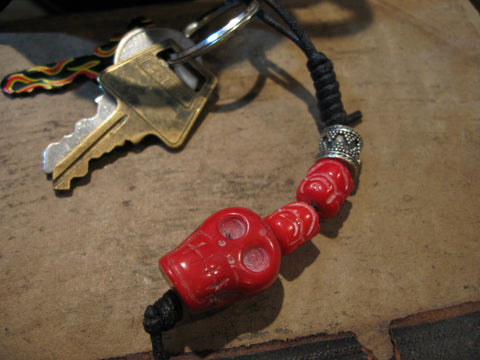 red dyed coral skull key chain