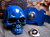 blue colored skull pin